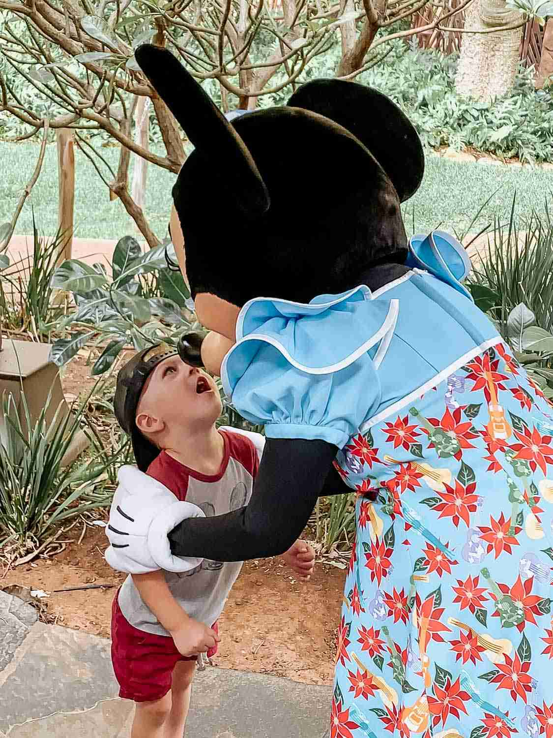 Little boy giving Minnie Mouse a kiss on her nose at the Disney Character Breakfast at Aulani in Hawaii