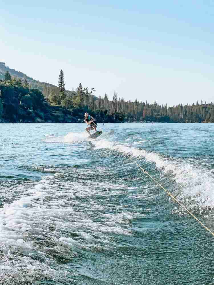 Dad wakeboarding on Bass Lake California