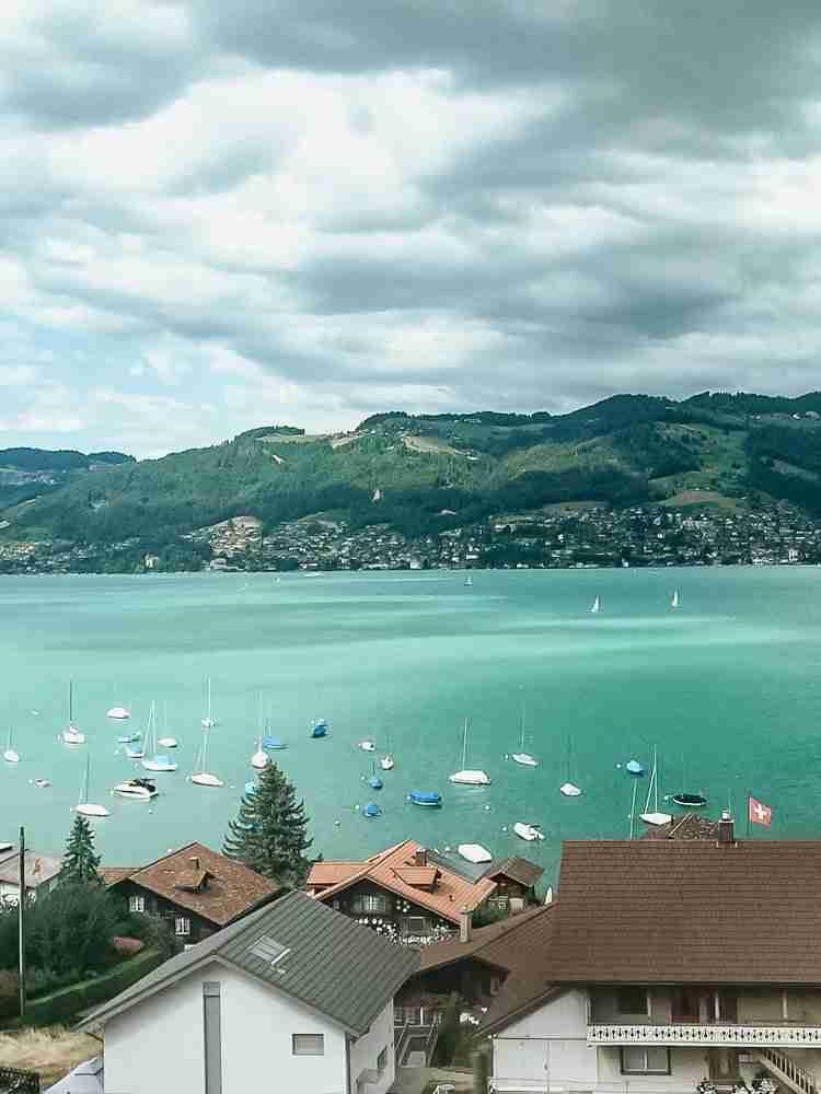 Teal lake in Interlaken, Switzerland