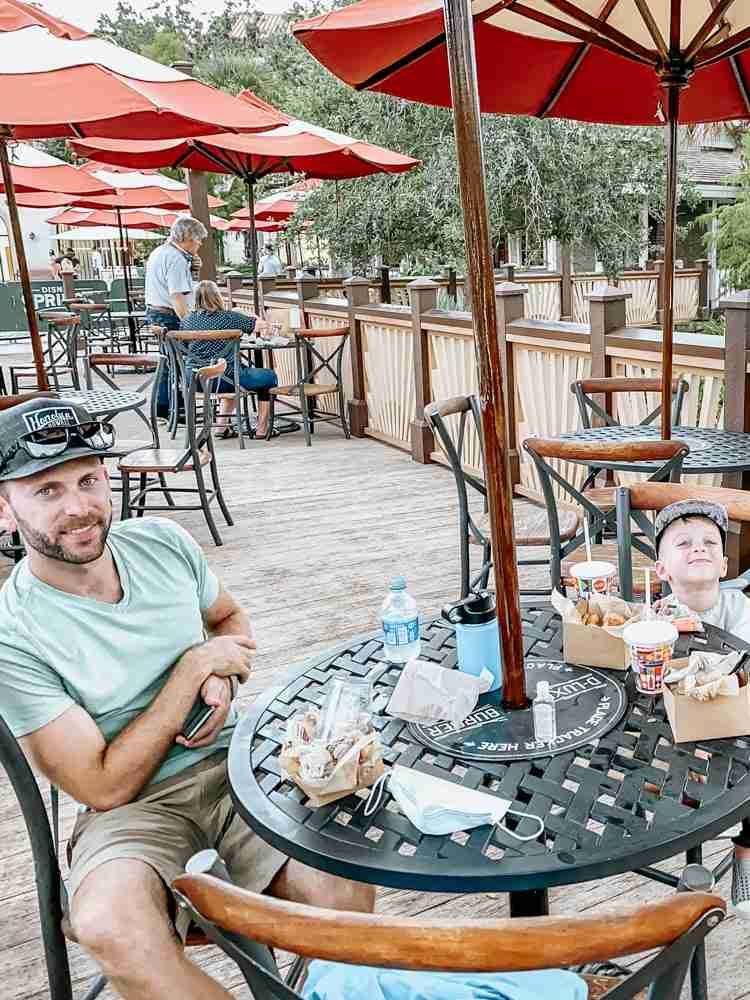 Socially distanced eating at Disney Springs