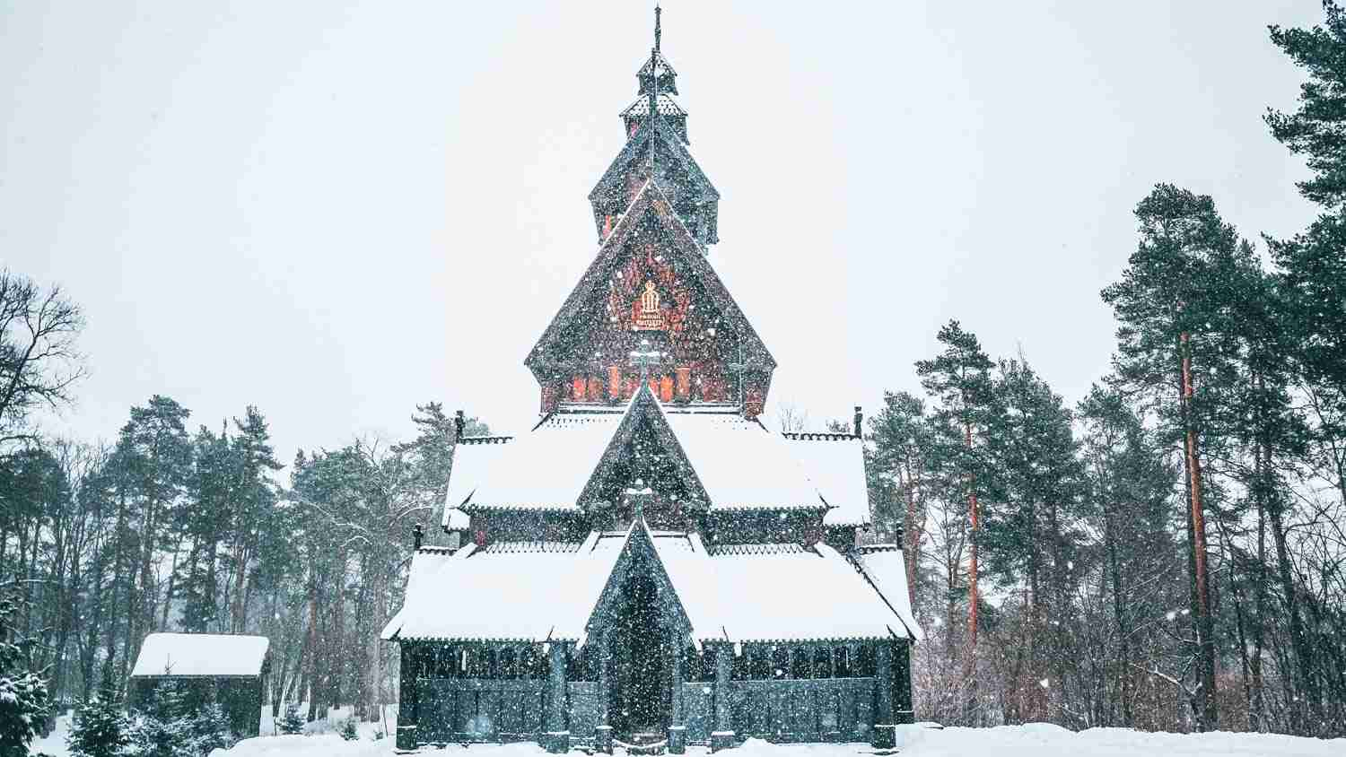 Christmas Norwegian house in the snow