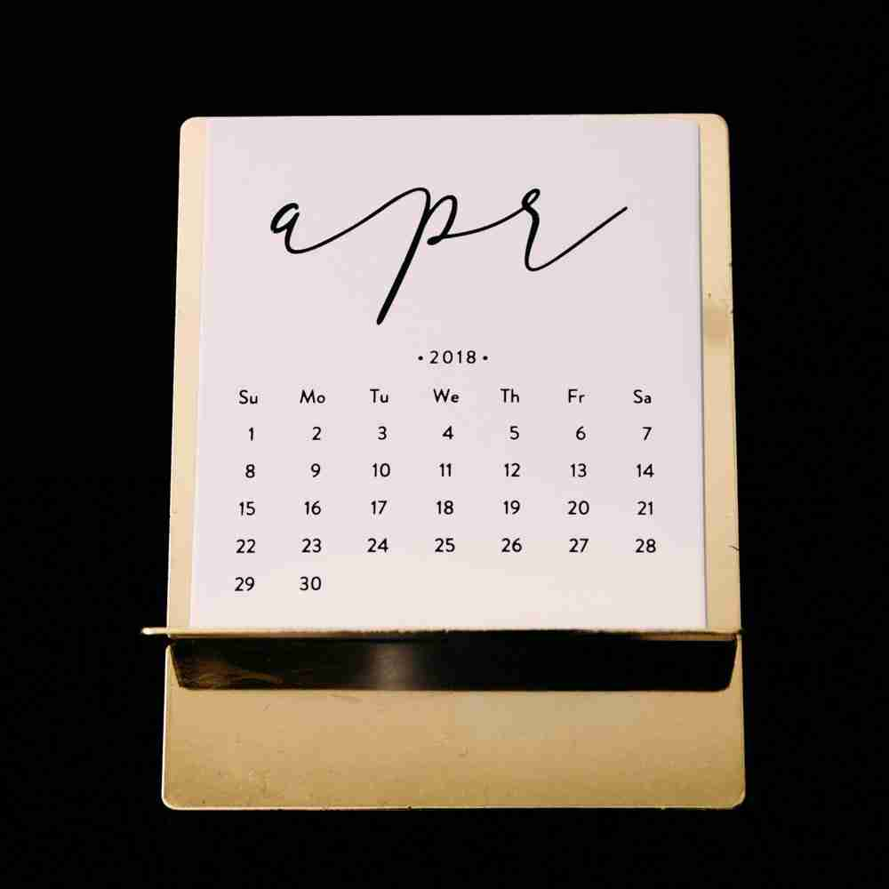 April Calendar for trip itinerary time frame