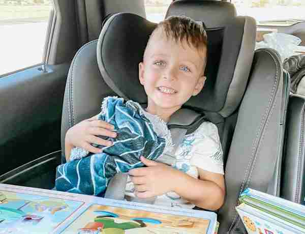 Smiling Toddler on a road trip