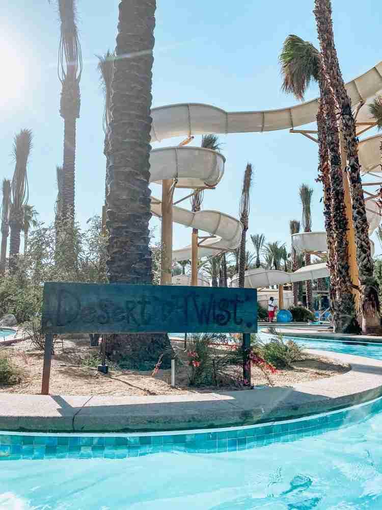 Water slide at Hyatt hotel in Palm Springs area