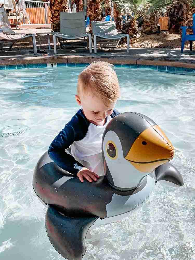 Little boy in kiddie pool at Palm Springs hotel