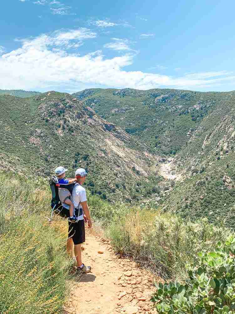 Father and son hiking to 3 sisters falls just east of San Diego