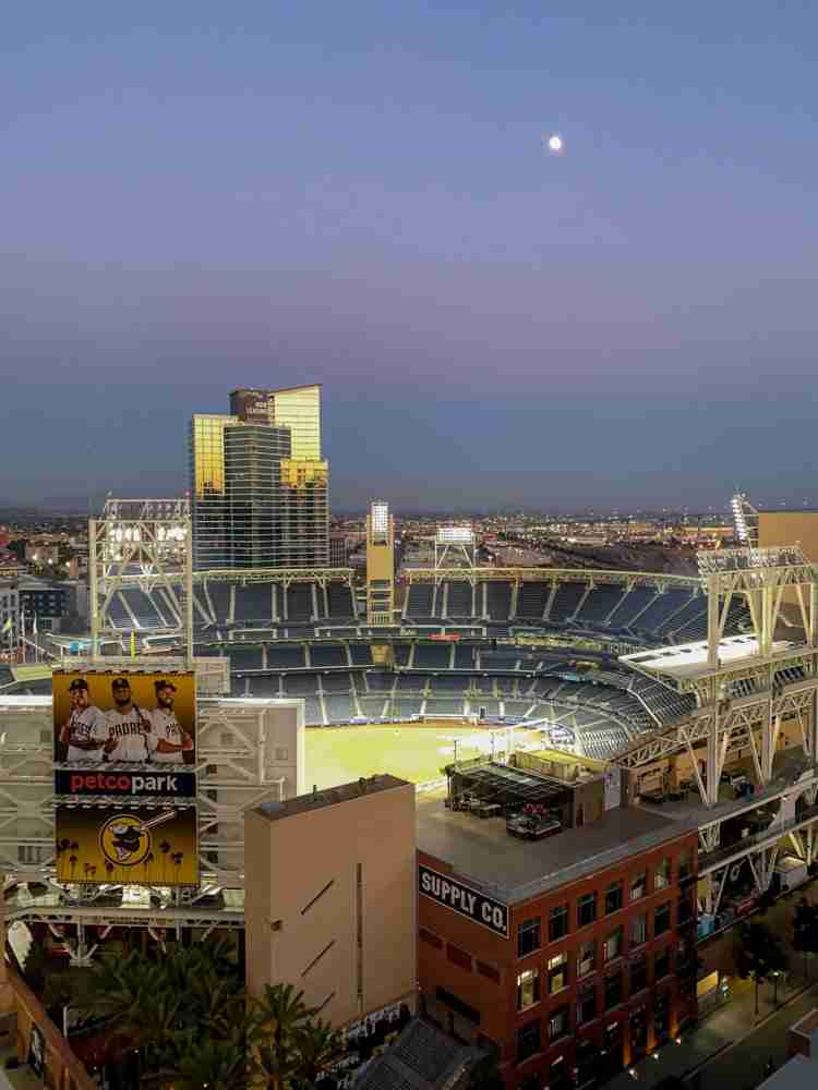 Up high view of Petco Park at dusk in San Diego