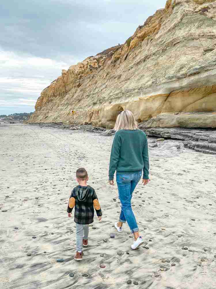 Mother and Son walking on Torrey Pines State Beach