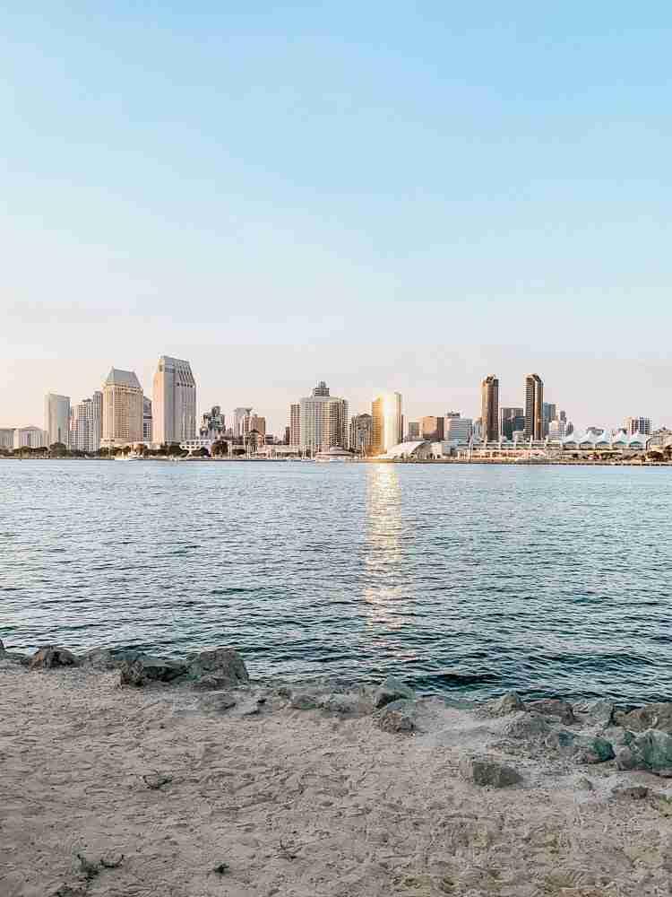 San Diego downtown skyline over bay