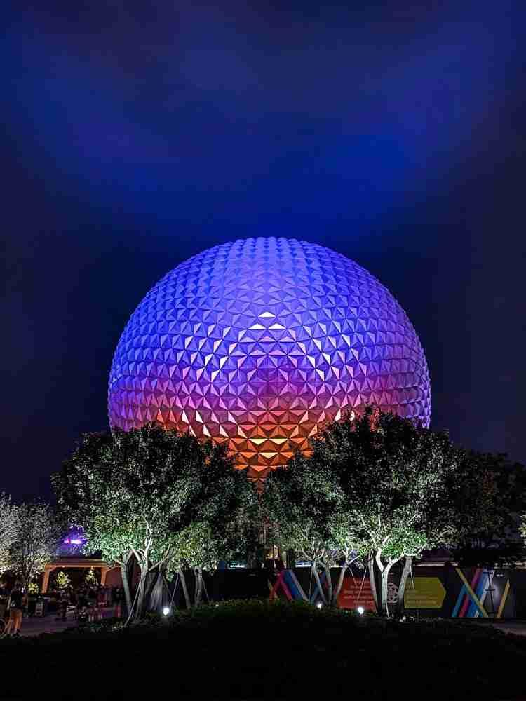 Epcot Spaceship Earth at night in Walt Disney World
